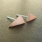 Tiny triangle earrings . Copper and..