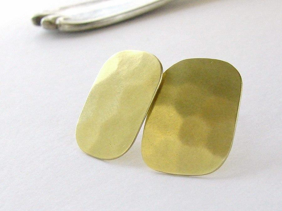 Brass rectangle studs . Geometric earrings