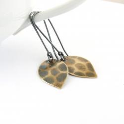 Leaf earrings . Brass and sterling silver