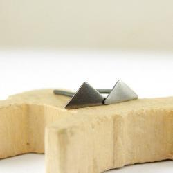 Tiny triangle studs . Minimalistic sterling silver earrings